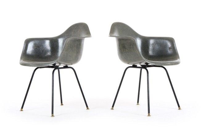 Pair of Elephant Gray Eames DAX Chairs for Herman Miller - Mr. Bigglesworthy Designer Vintage Furniture Gallery
