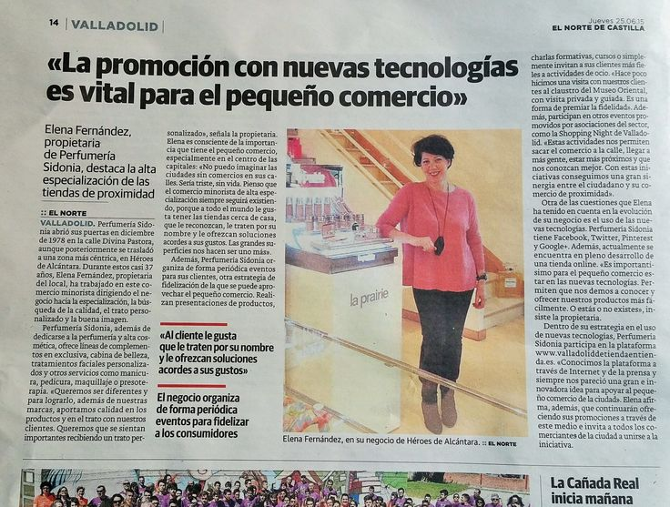 Perfumería Sidonia es noticia en la prensa  (El Norte de Castilla, Jueves 25-06-2015)