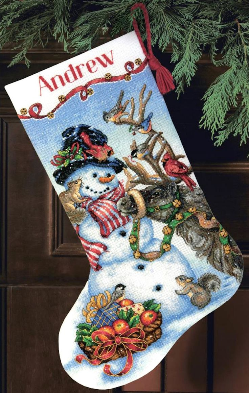 gold collection snowman gathering stocking christmas stocking kitschristmas cookieschristmas ornamentcounted cross stitch - Cross Stitch Christmas Stocking Kits