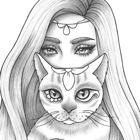Printable Coloring Page Girl Portrait And Cat Colouring Sheet Etsy Outline Drawings Cute Drawings Of People Girly Drawings