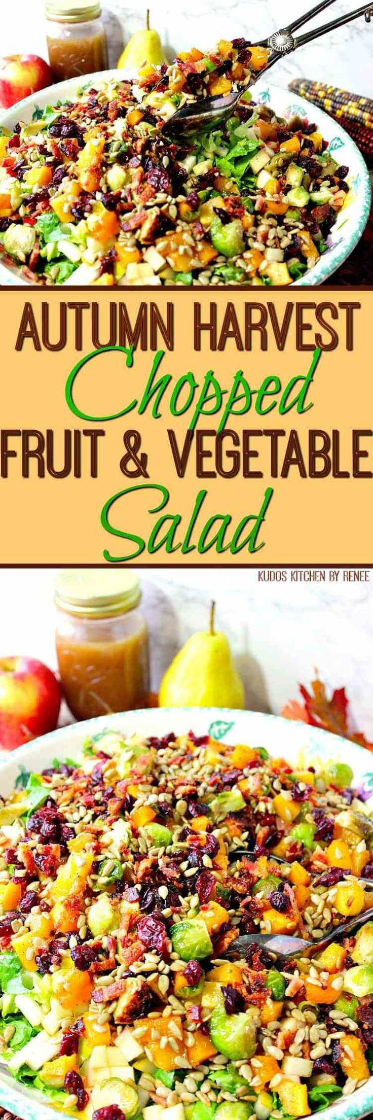 This Autumn Harvest Chopped Fruit & Vegetable Salad has all the colors and flavors of fall, and can easily grace the Thanksgiving table. - Kudos Kitchen by Renee