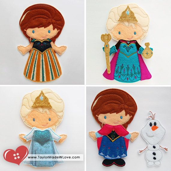 Princess Annie & Elsie Cold Winter Snow Felt Paper Doll Toys Set, 12 ITH Digital Design Files Per Size - Queen, Frost, Blue, Dress Up