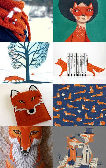 Orange foxes in a blue world by Julia Jasiczak on Etsy--Pinned with TreasuryPin.com