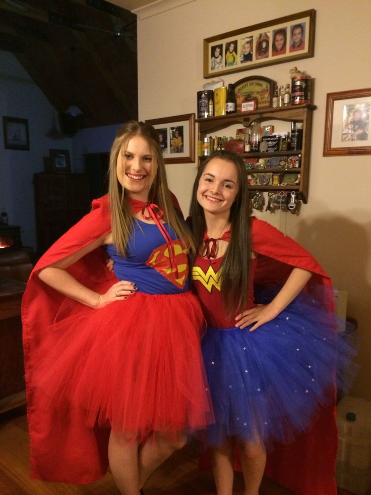 Bestfriend and my own super hero costumes! We made them our selfs and all the ideas came from this board #superwomen #wonderwomen