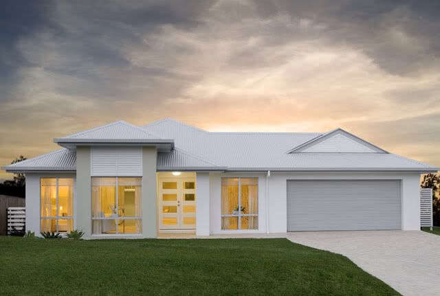 'The Straddie' Shale grey roof, Shale grey garage with Surfmist render