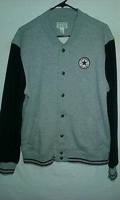 Men's Converse All-Star Button Up Grey Sweat Shirt sz. Large