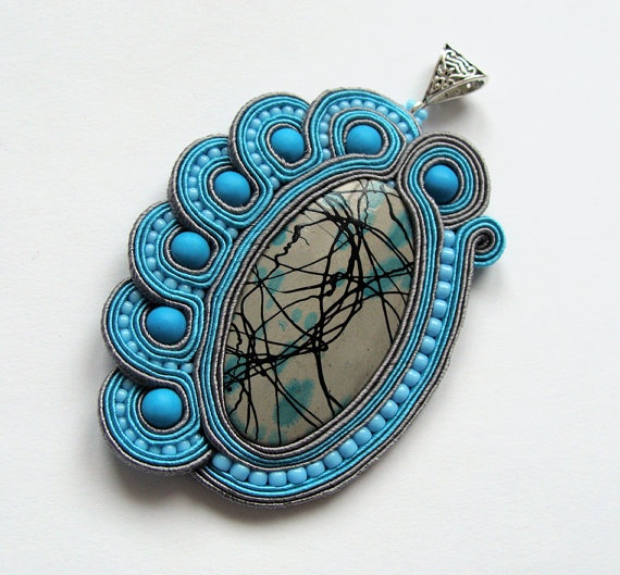 Big soutache pendant handmade embroidered in blue gray turquoise satin strips shell mediterranean jewelry. Perfect gift - oaak. via Etsy