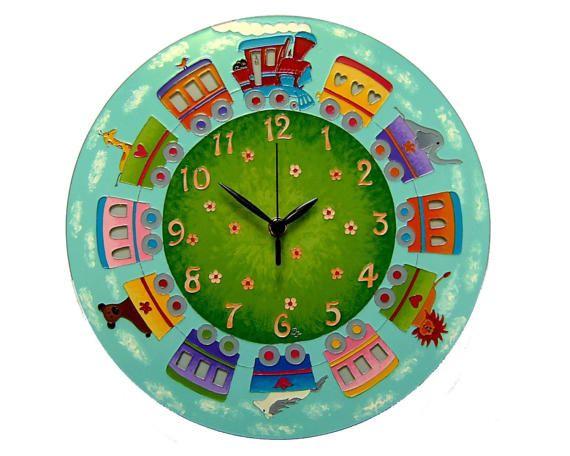 Fairy-Tale Train Wall Clock, Children's clock, Boys clock, Silent wall clock, Large wall clock, Train wall decor