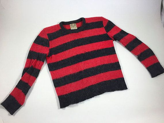 Vintage Sweater Halloween Costume Freddy Krueger Cardigan Red Gray Charcoal Stripe Retro Striped Pull Over