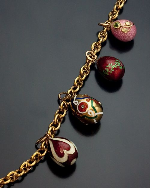 Antique Russian 14K Gold Guard Chain Link Necklace with Small Faberge House Gold, Enamel and Jewelled Eggs. Incomparable.