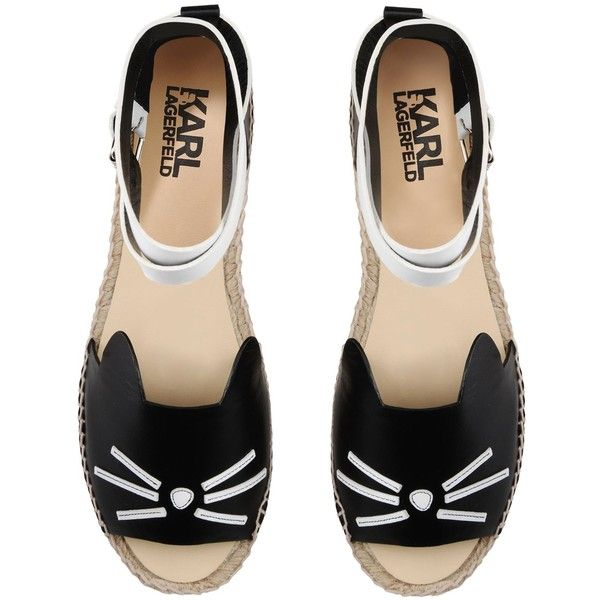 Karl Lagerfeld K/Espadrille Ankle ($205) ❤ liked on Polyvore featuring shoes, genuine leather shoes, real leather shoes, round cap, buckle shoes and leather espadrilles