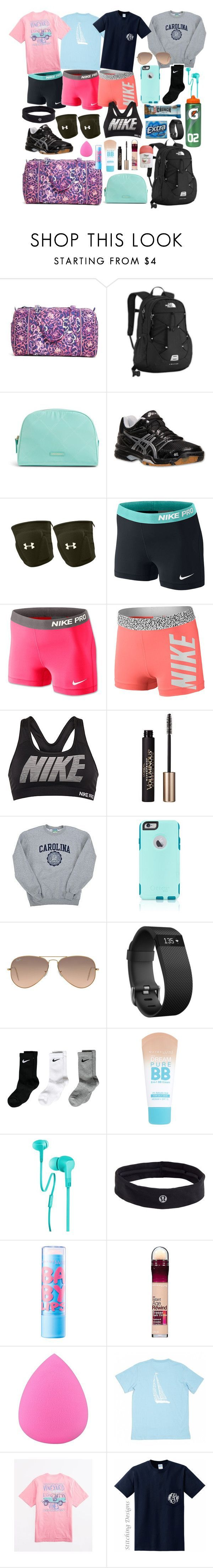"""Volleyball Camp Essentials"" by whalesandprints ❤ liked on Polyvore featuring Vera Bradley, The North Face, Asics, Under Armour, NIKE, L'Oréal Paris, Champion, OtterBox, Ray-Ban and Fitbit"