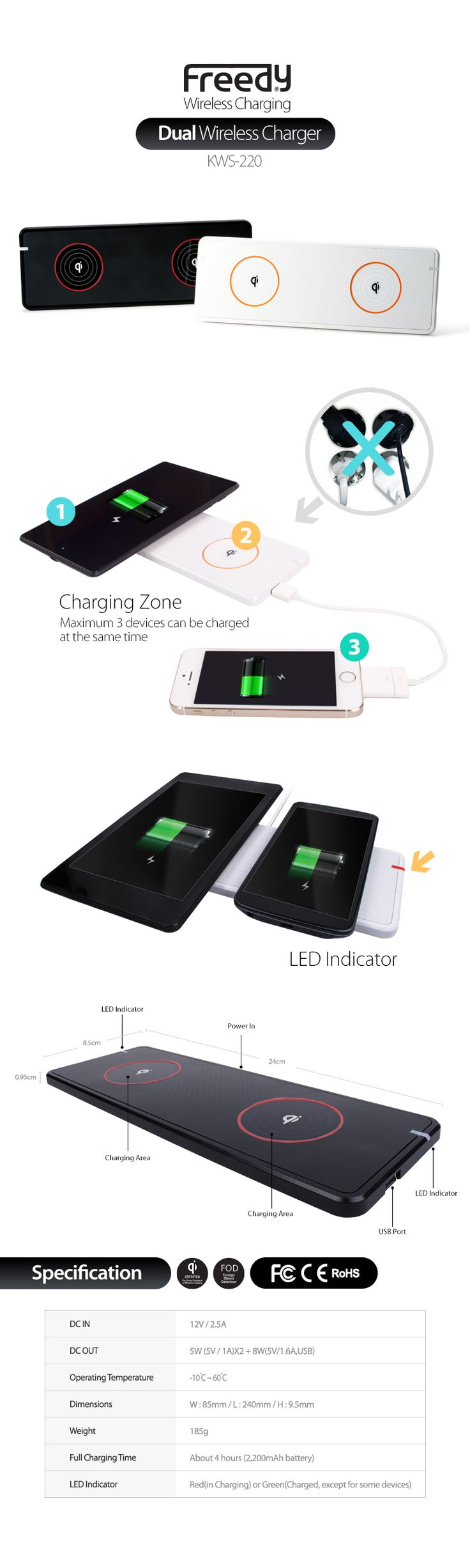 FREEDY Dual Wireless Charger KWS-220 for Qi Enabled Smartphones and Tablets- Retail Packaging - White: Cell Phones & Accessories #Qi #Qiwireless #Qiwirelesscharger #freedy #freedywireless #wireless #wirelesscharging #wirelesscharger #madeinkorea #korea #SMAPP #designforsamsung