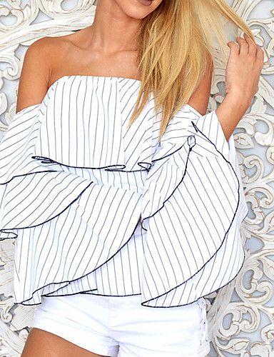 Mujer Sexy Noche Primavera Verano Camiseta,Escote Barco A Rayas Sin Mangas Algodón Opaco 5700341 2017 – $43.178