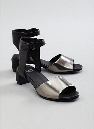 Catch Mid Heel Sandal in Italian Metallic Leather and Washed Leather