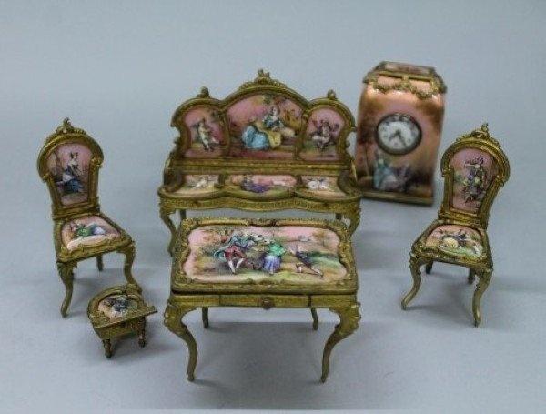 mini furniture sets. Viennese Enamel And Porcelain Miniature Furniture Set Mini Sets M
