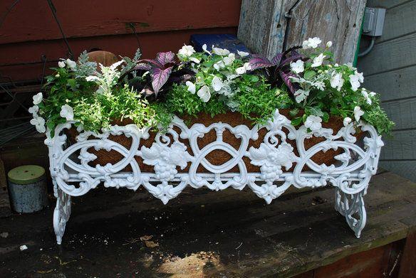 Vintage Cast Iron Garden Planter Grapevine Deck Rail