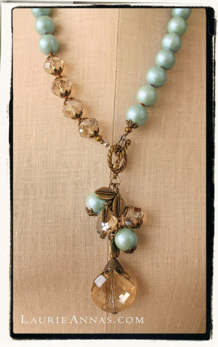 Togle Closure as Focal - Beaded Necklace - LaurieAnna's Vintage Home