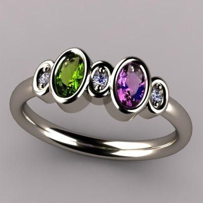 bezeled 2 Stone Oval Mothers Ring With Diamond