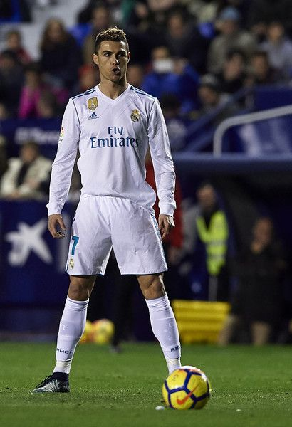 Cristiano Ronaldo of Real Madrid reacts during the La Liga match between Levante and Real Madrid at Ciutat de Valencia on February 3, 2018 in Valencia, Spain.