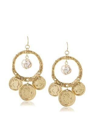 55% OFF Yochi Balboa Coin Baroque Pearl Earrings
