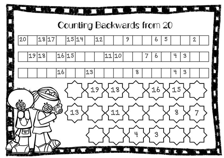 FREE worksheet - Counting Backwards From 20. A simple fill in the gaps printable. This is included in the Free Counting Forwards and Backwards to 20 Printable.