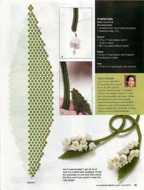 Схемы: Лариат Ландыш. Beads and Button 2013 г (Номер 103)