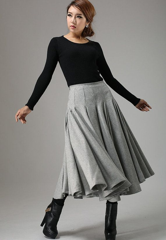 Light gray wool skirt maxi skirt winter skirt swing door xiaolizi, $109.00