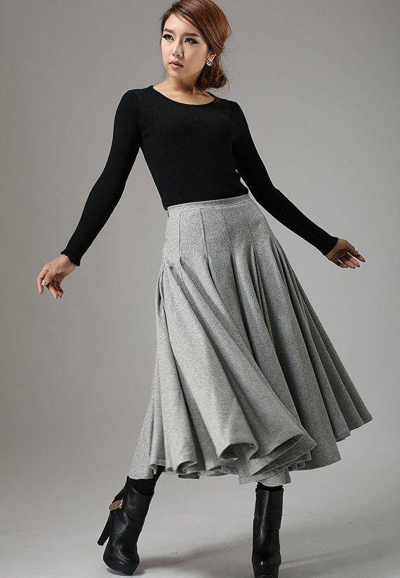 Light gray wool skirt maxi skirt winter skirt swing by xiaolizi $109