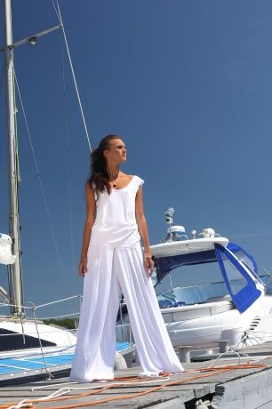 Комплект Трикотажный топ без рукавов и широкие брюки. www.bekareva.ru #SvetlanaBekareva #dress #платье #sarafan