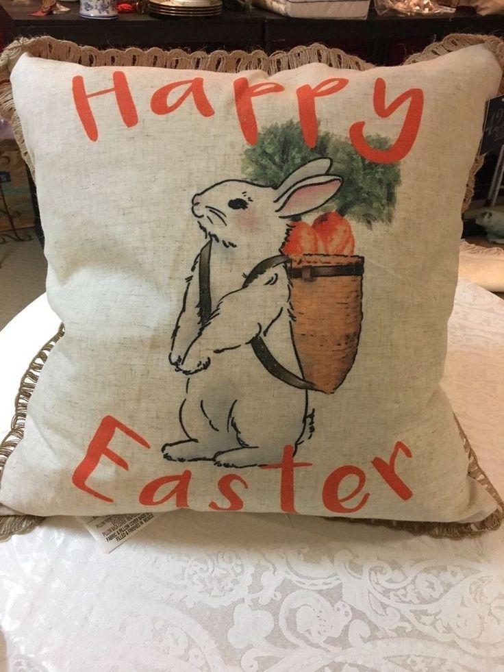Natural Linen blend Happy Easter Backpack Bunny