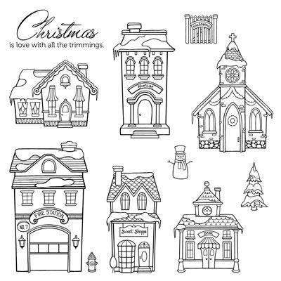 """Christmas Village Set of 10 Recommended My Acrylix® Blocks: 1"""" × 1"""" (Y1000), 2"""" × 2"""" (Y1003), 3"""" × 3"""" (Y1006), 2"""" × 3½"""" (Y1009) www.BridgetMiller.ctmh.com"""