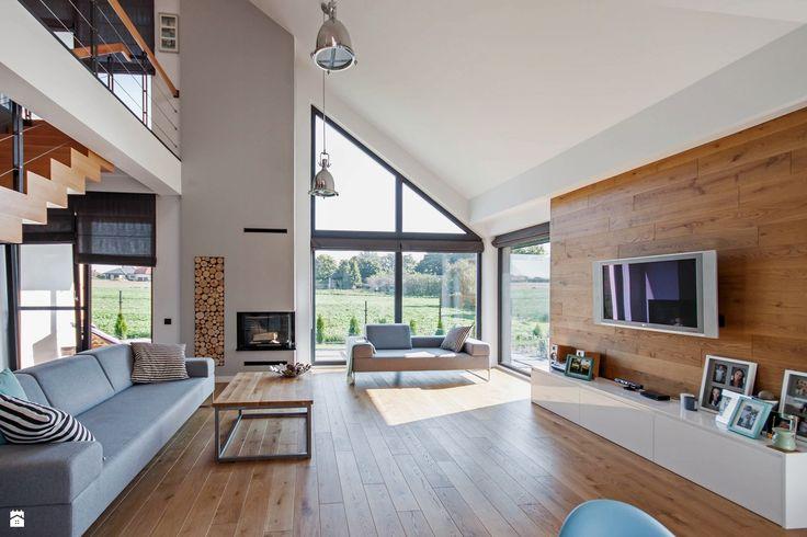 Salon styl Skandynawski - zdjęcie od DOMY Z WIZJĄ - nowoczesne projekty domów…
