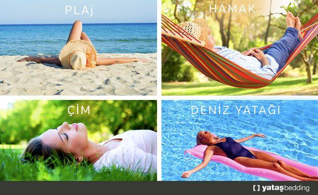 Uyumaktan en #keyif aldığınız yer hangisi? #YataşBedding #Uyku#Plaj #Hamak #Deniz #Çim #Tatil  #Ramazan #Bayram