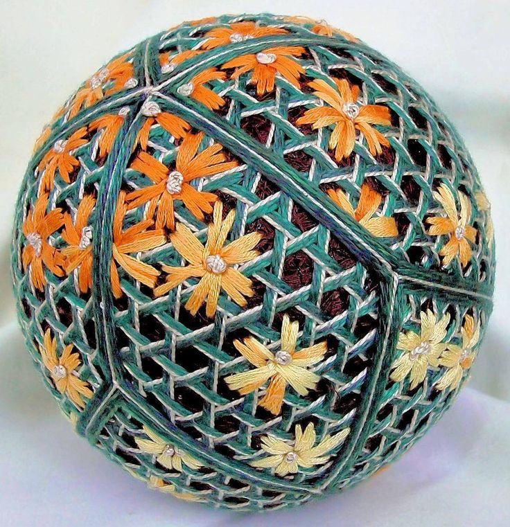 The work of temari artist Terry Blanchard.  See more of Terry's work on his Pinterest page at https://www.pinterest.ca/tjbinno/