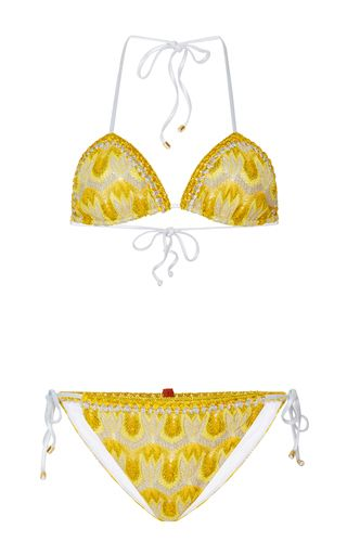 Missoni Mare's bikini is cut from the label's signature crochet-knit in shades of yellow and gray. It has a classic triangle top and low-rise briefs that are finished with ties for a customized fit. Pack it in the accompanying pouch for your next getaway.