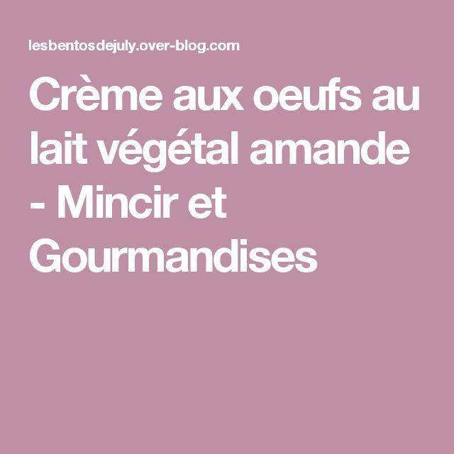 Crème aux oeufs au lait végétal amande - Mincir et Gourmandises