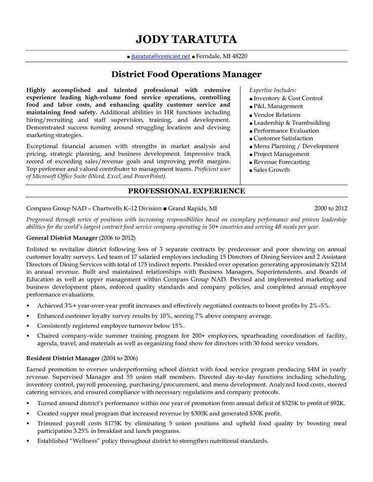 52 best restaurant resume images on Pinterest - food service manager resume examples