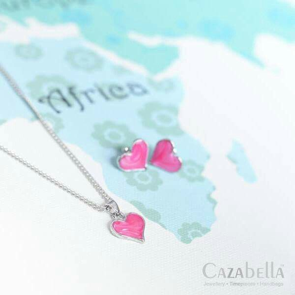 Pink heart necklace & earring set. SNE005-77 @ R100    #jewelry #fashion #cute #trendy #love #fashionjewelry #instajewelry #fashionista ronel.cazabella@yahoo.com