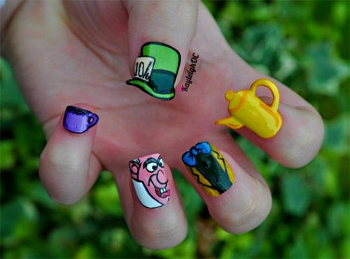 mad hatter alice wonderland nail art