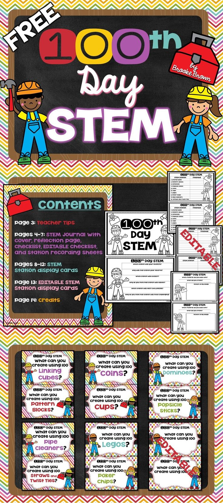 FREE 100th Day of School Elementary STEM Stations for PreK, 1st Grade, 2nd Grade, and 3rd Grade! | STEM Challenges | STEM Activities