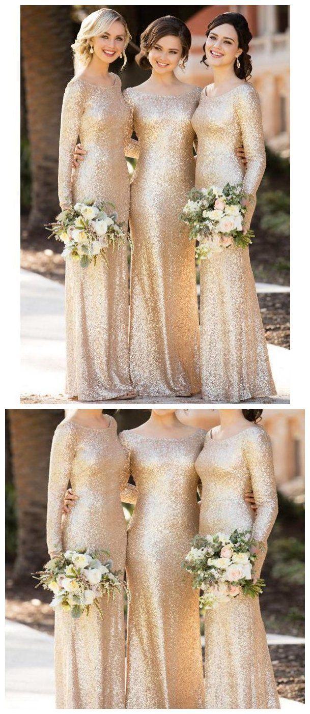 e9d36061ae4 Long Sleeves Gold Sequin Mermaid Cheap Long Bridesmaid Dresses Online