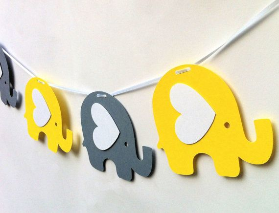 Elephant Garland. Baby shower, nursery decor, high chair, birthday party, bunting, banner, dessert table. Yellow and gray.