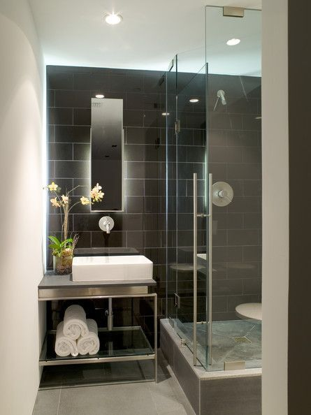 Black And White Modern Bathroom Nice Continuation Of Tile From Shower To Sink