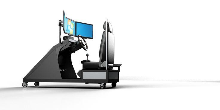 Simulatore di guida per autoscuole. La richiesta dell'azienda era quella di progettare un cockpit robusto, facile da realizzare, con macchinari poco costosi e materiali facilmente reperibili.