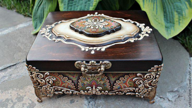 Купить шкатулка ларец - шкатулка, бежевый, шкатулка для украшений, шкатулка декупаж, шкатулка деревянная