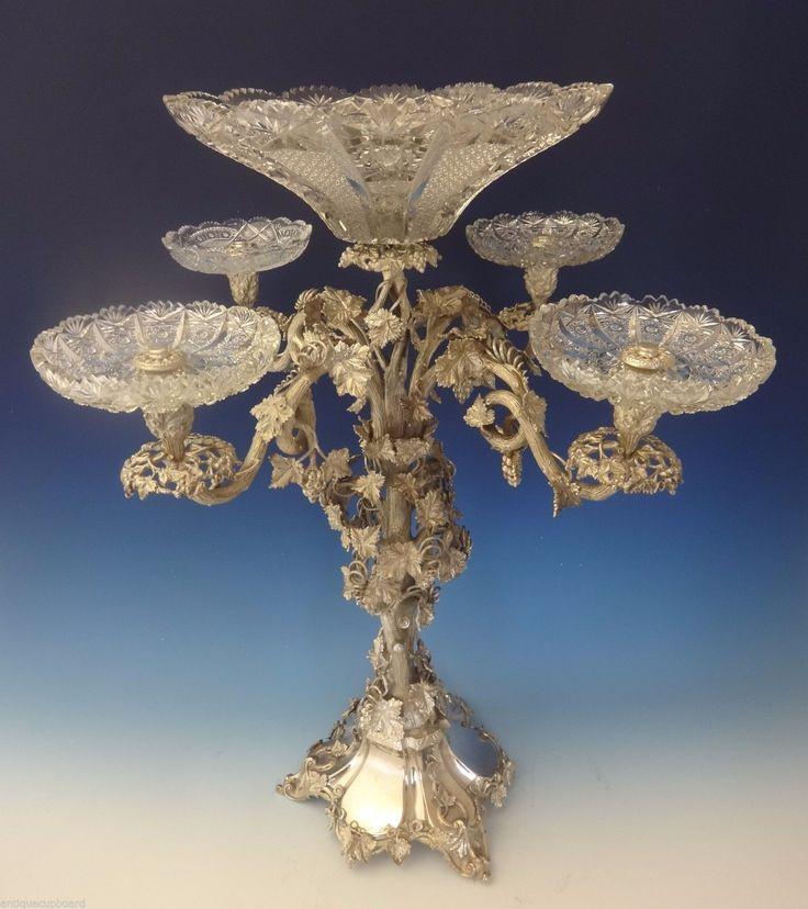 богато украшенный посеребренное Центральная Ваза w / прогуляла уроки лотки и 3-D виноградные лозы викторианского # 0209 | eBay