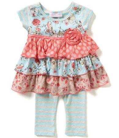 Bonnie Baby Girls Newborn-24 Months Mixed Print Tiered Dress and Striped…