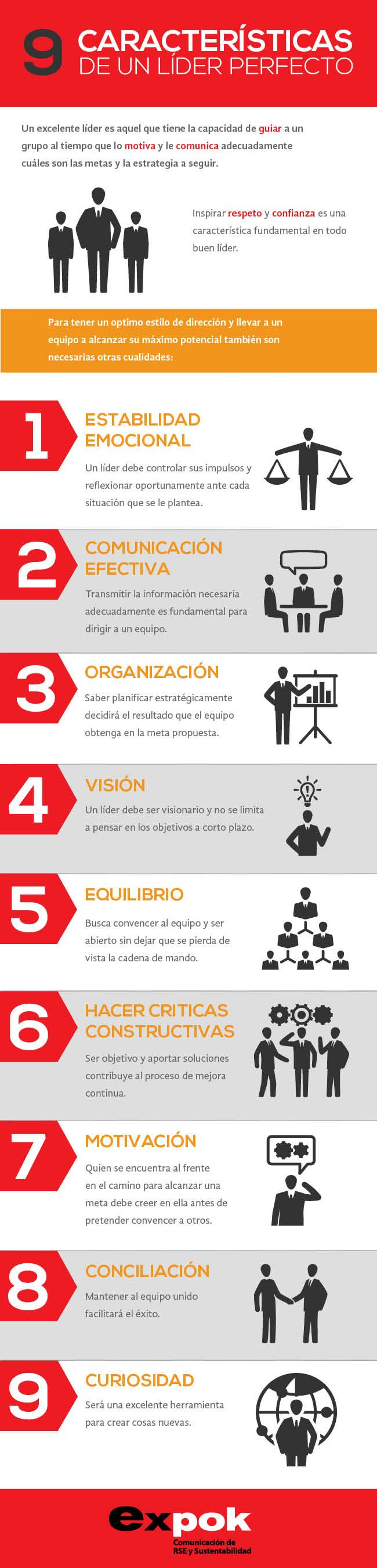 9 características de un líder perfecto vía: http://www.expoknews.com #infografia #infographic #leadership