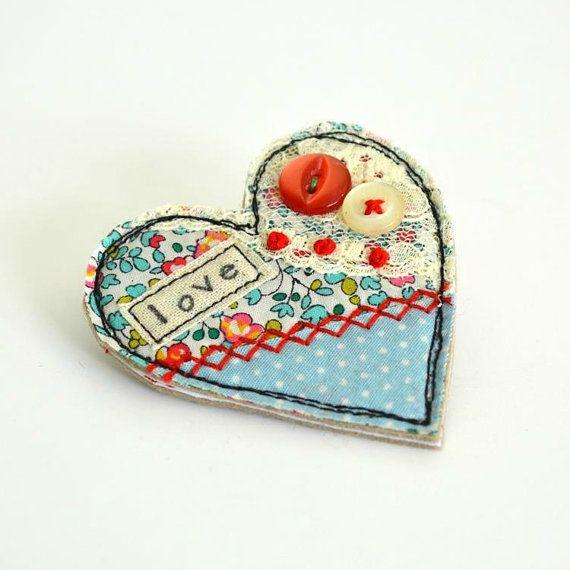 Heart shaped BROOCH Heart badge Heart pin Fabric heart